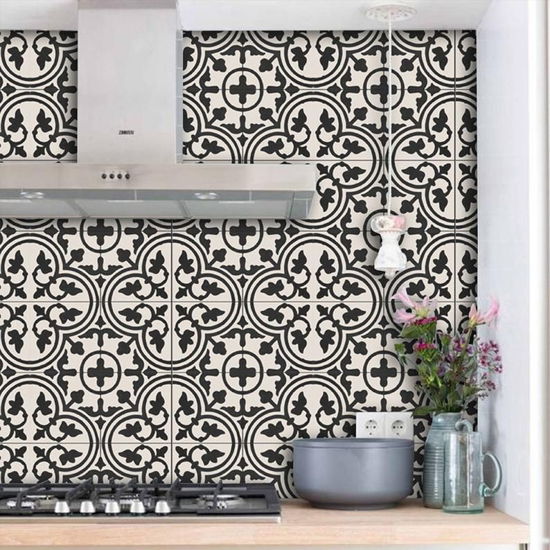 Moroccan Trefle Wallpaper In Black Removable Vinyl Wallpaper Etsy Vinyl Tile Vinyl Wallpaper Black Kitchens