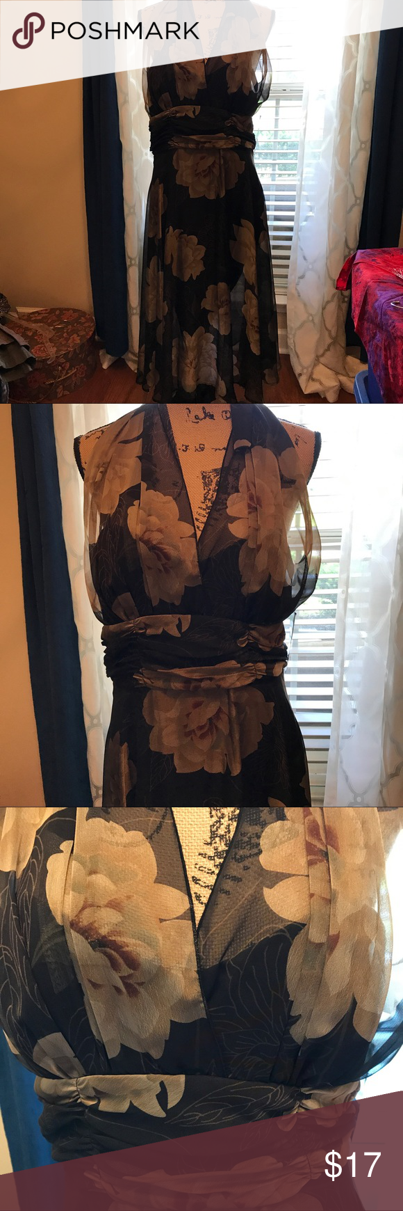 NWT Connected brown floral halter dress. Size 14 NWT really pretty floral brown dress. Halter style. Great for party 🎉 or wedding 👰 or a night out. Has cummerbund styling around waist. Very flattering on. Connected Dresses