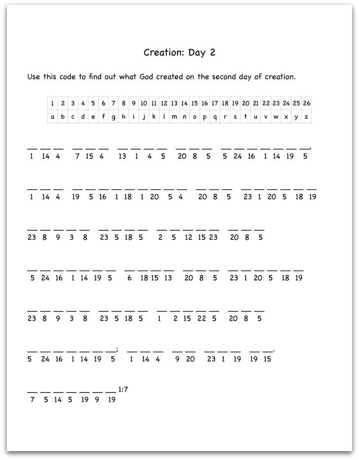 Creation Day 2 Bible Verse Decoding Worksheet Folder – Bible Worksheets