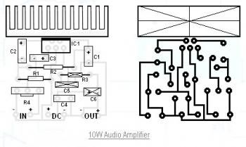 10w audio amplifier circuit schematic elektron l pinterest rh pinterest com Audio Power Amplifier Circuit Diagram LM386 Audio Amplifier Circuit