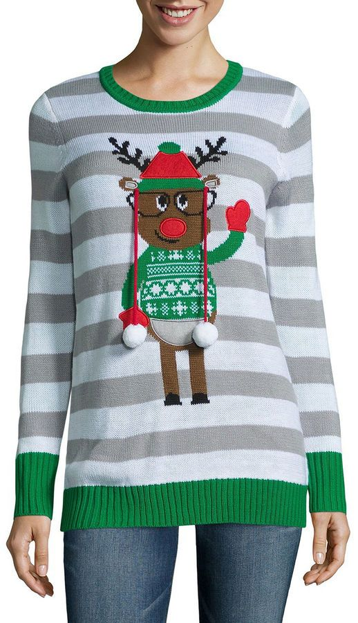 how cute is this cheerful reindeer christmas sweater for women love the slightly nerdy reindeerand the dangling pompoms are so much fun - Reindeer Christmas Sweater