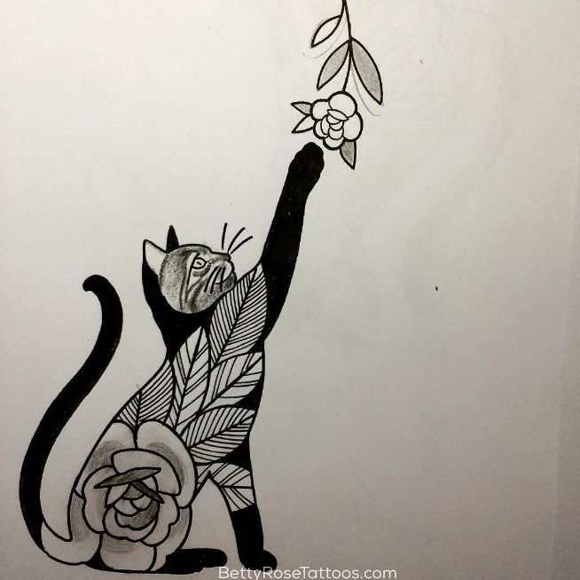 Rose cat tattoo design by Betty Rose- this would be a