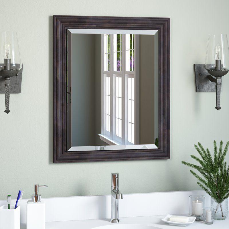 Narrow Rustic Pine Bathroom Mirror