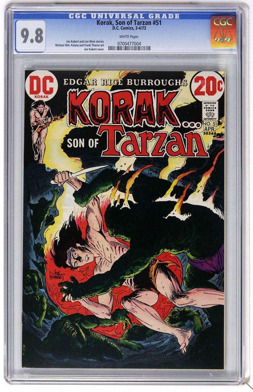 Bronze Age (1970-1979):Miscellaneous, Korak, Son of Tarzan #51 (DC, 1973) CGC NM/MT 9.8 White pages. JoeKubert cover. Mike Kaluta and Frank Thorne art. Overstree... Image #1