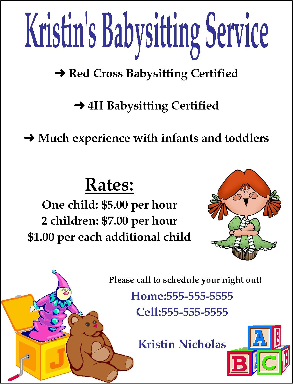 babysitting flyer template word