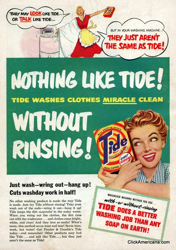 Vintage Tide Laundry Detergent Ads From The 1950s Funny Vintage Ads Vintage Ads Vintage Advertisements