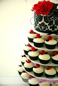 Black White Red Wedding Cupcake Tier Done Right