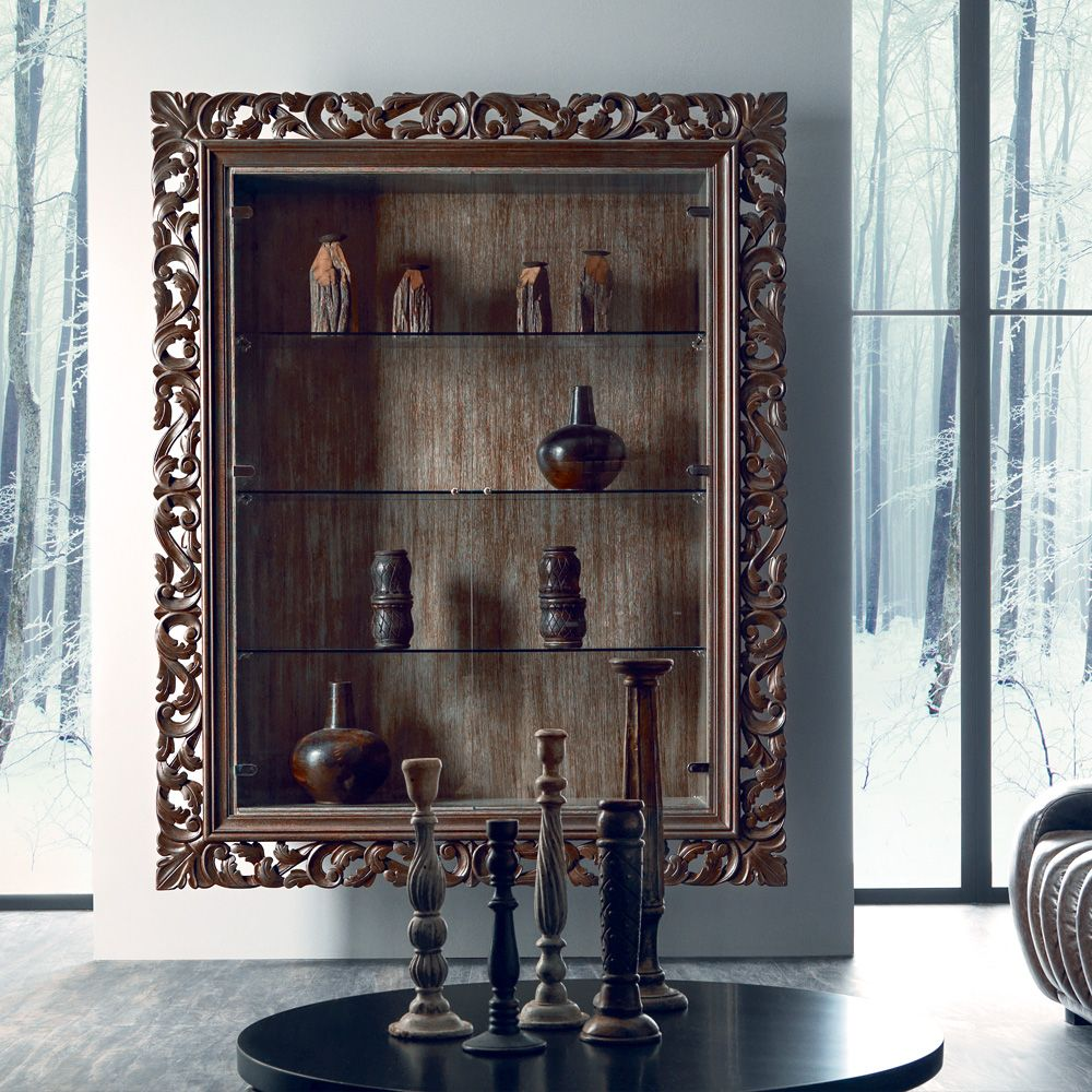 Living Room Furniture · Italian Oak Wall Hanging Display Cabinet