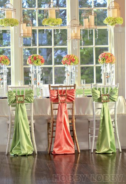 Repurpose picture frames to fasten sashes to chair backs! #weddingweek Tablescape Centerpiece www.tablescapesbydesign.com https://www.facebook.com/pages/Tablescapes-By-Design/129811416695
