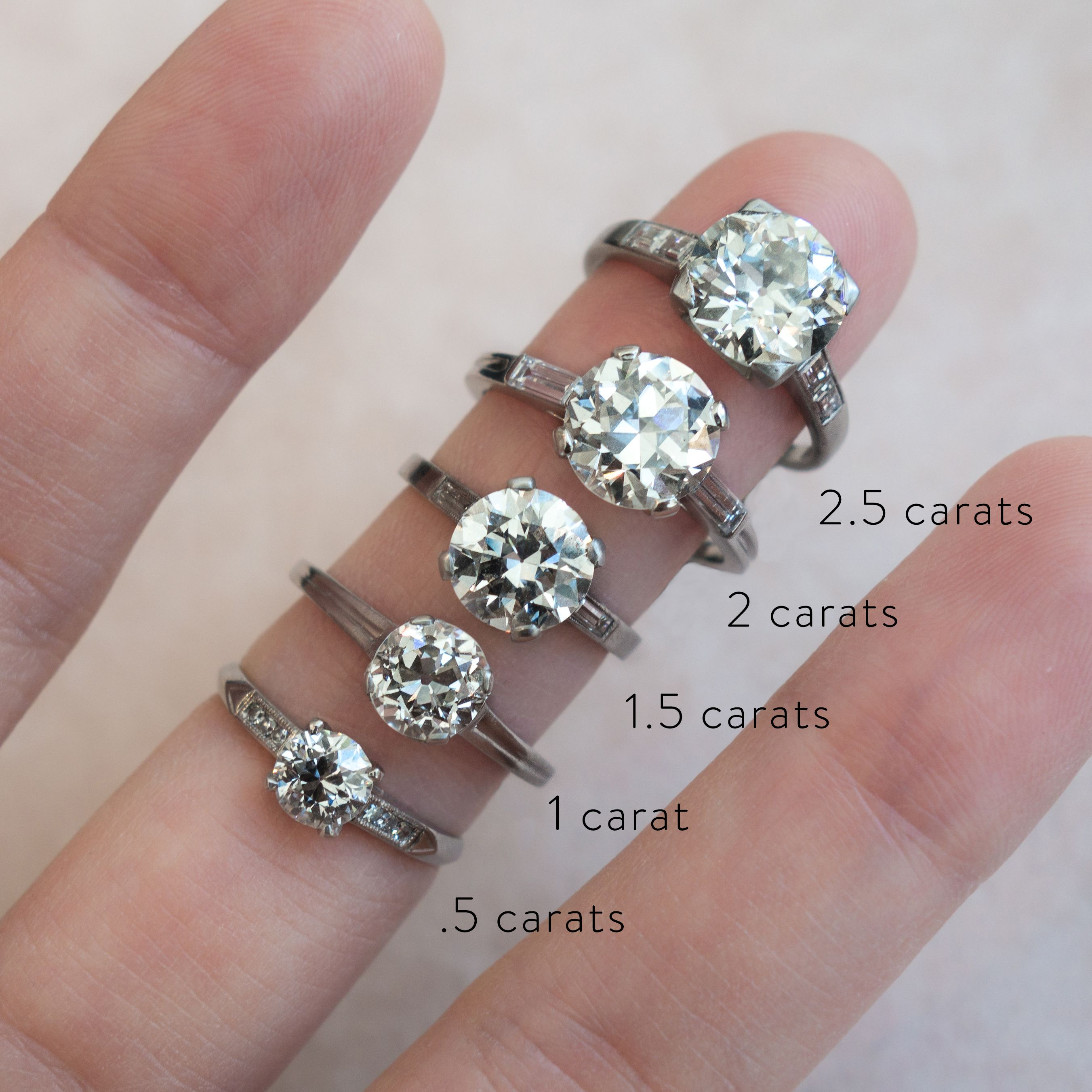 Actual Diamond Carat Size On A Hand Diamond Carat Size Diamond Sizes Diamond