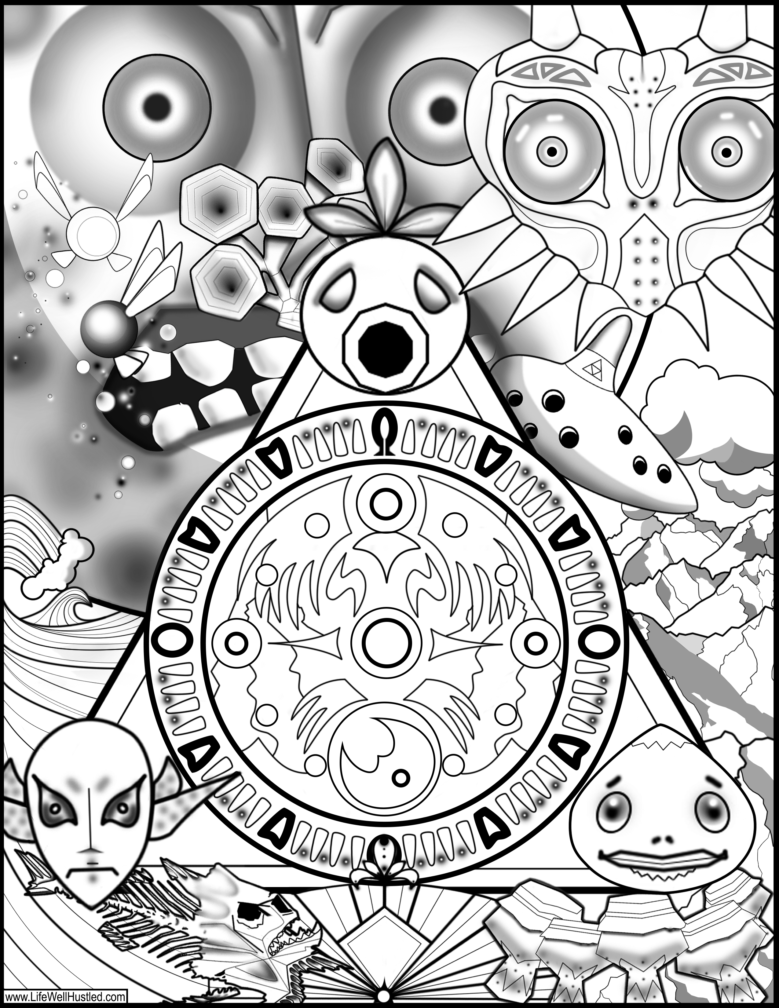 Legend of Zelda Majora s Mask Coloring Book Page