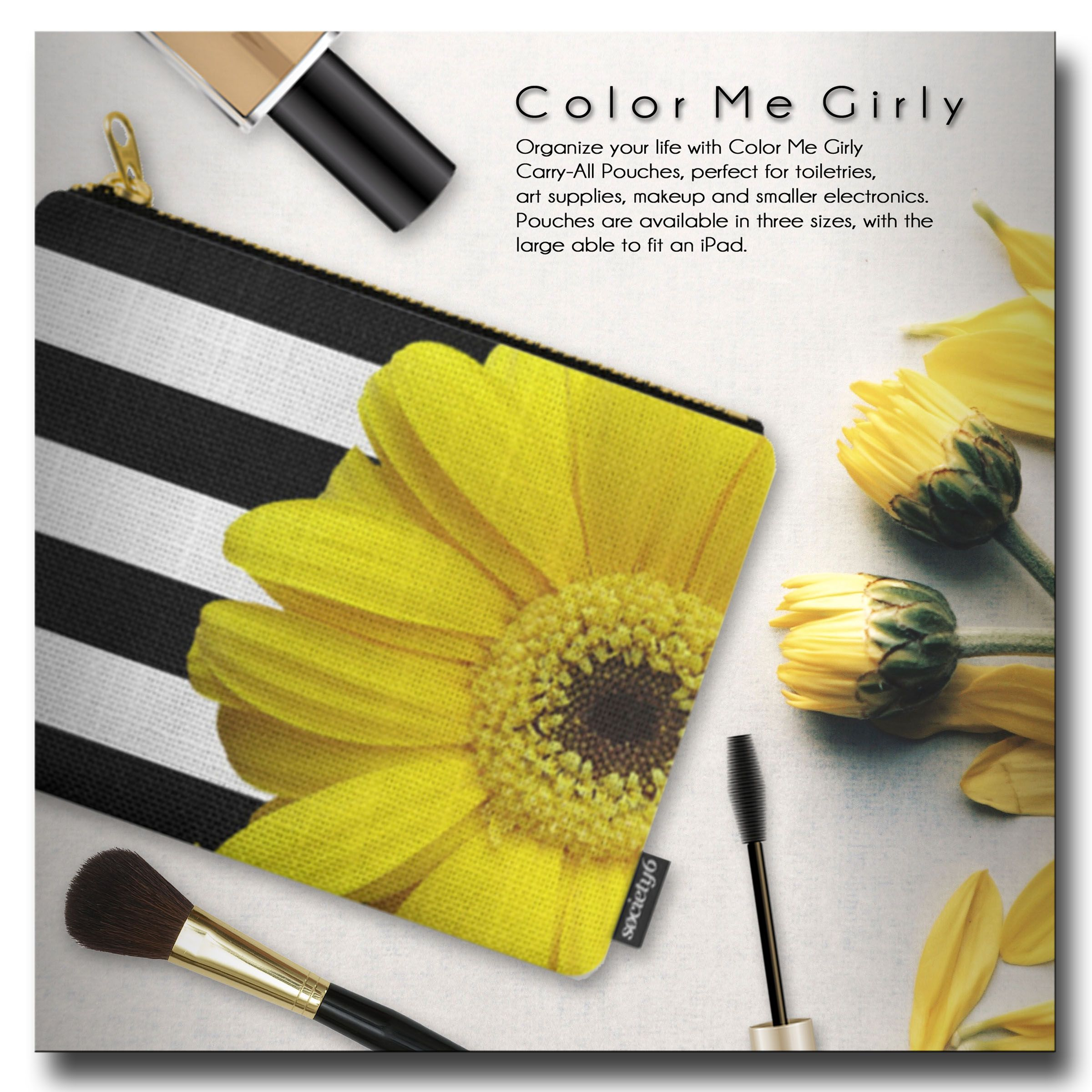 Yellow Daisy Flower Black White Stripes Carry All Pouch Black