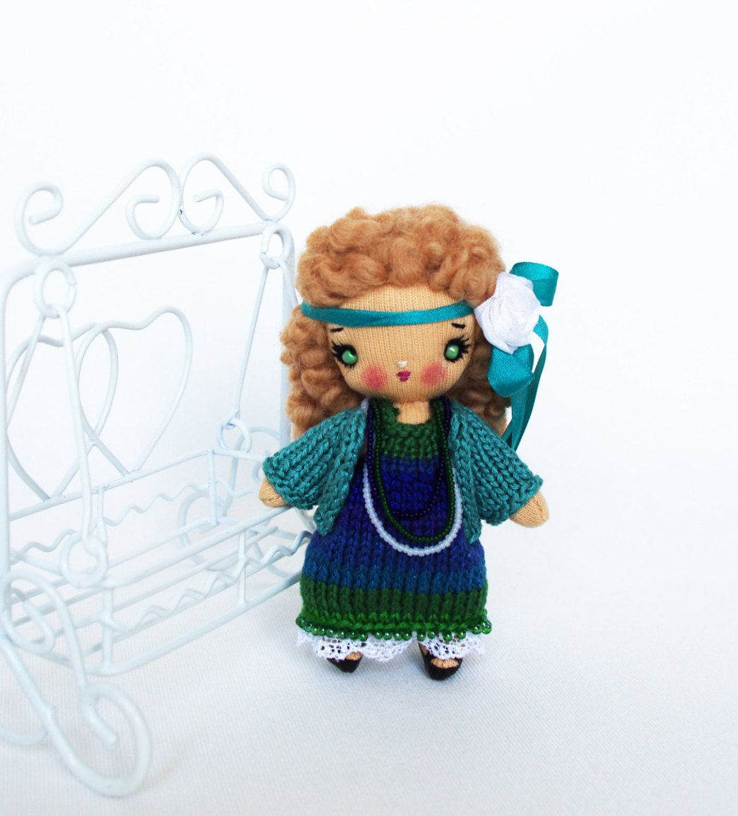 Cloth tiny doll in peacock color dress Handmade cute gift 4 inch - pinned by pin4etsy.com