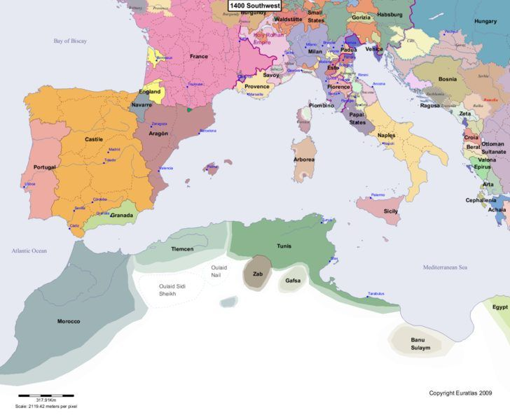 Map Of Europe 1400 Euratlas Periodis Web   Map of Europe 1400 Southwest | Europe map