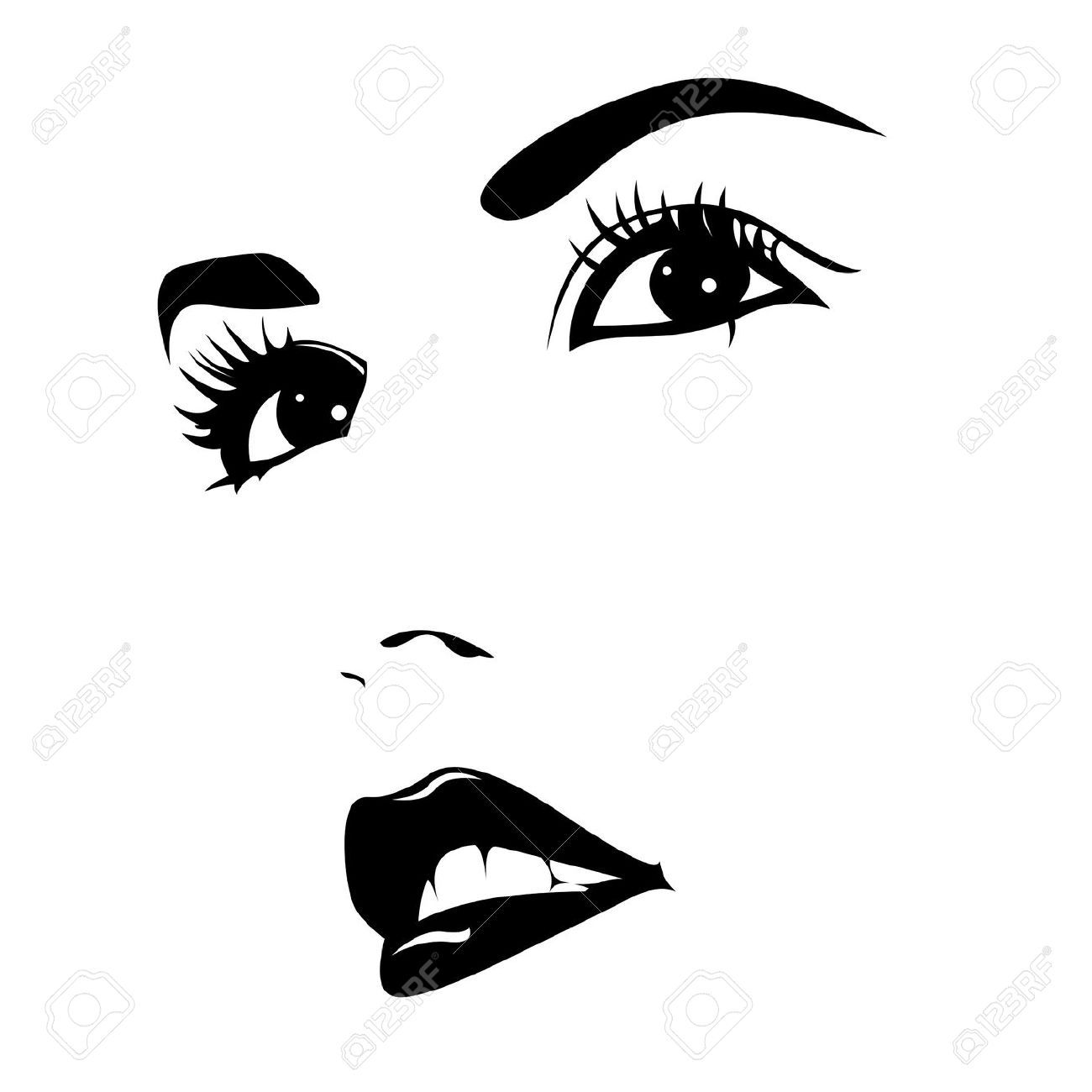 Line Drawing Face Vector : Silhouette beautiful woman face vector pesquisa google