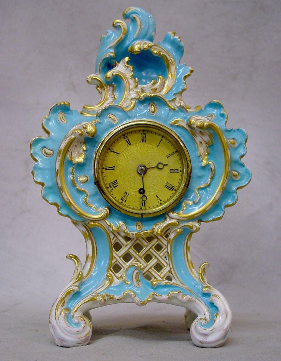 Antique english coalbrookdale porcelain cased vulliamy mantel clock