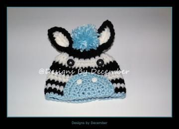 Crocheted Zebra Hat 3 to 6 Months Boy or Girl Custom Colors Photography Prop by DesignsbyDecember for $17.00