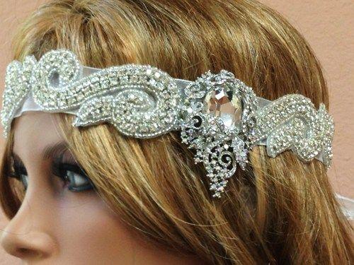 1920's vintage Gatsby rhinestone Forehead headbands | Bridal headband…
