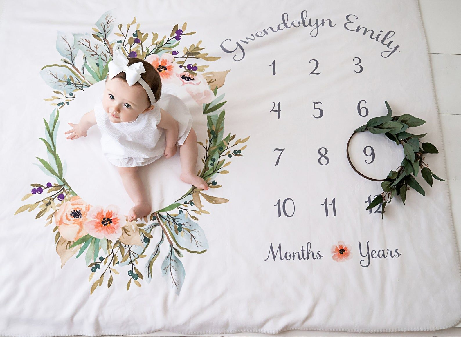 Baby Month Milestone Blanket Olive Wreath Horizontal Girl Personalized Baby Blanket Track Growth And Age New Mom Baby Shower Gift In 2020 Milestone Blanket Baby Milestone Blanket Baby Shower Return Gifts