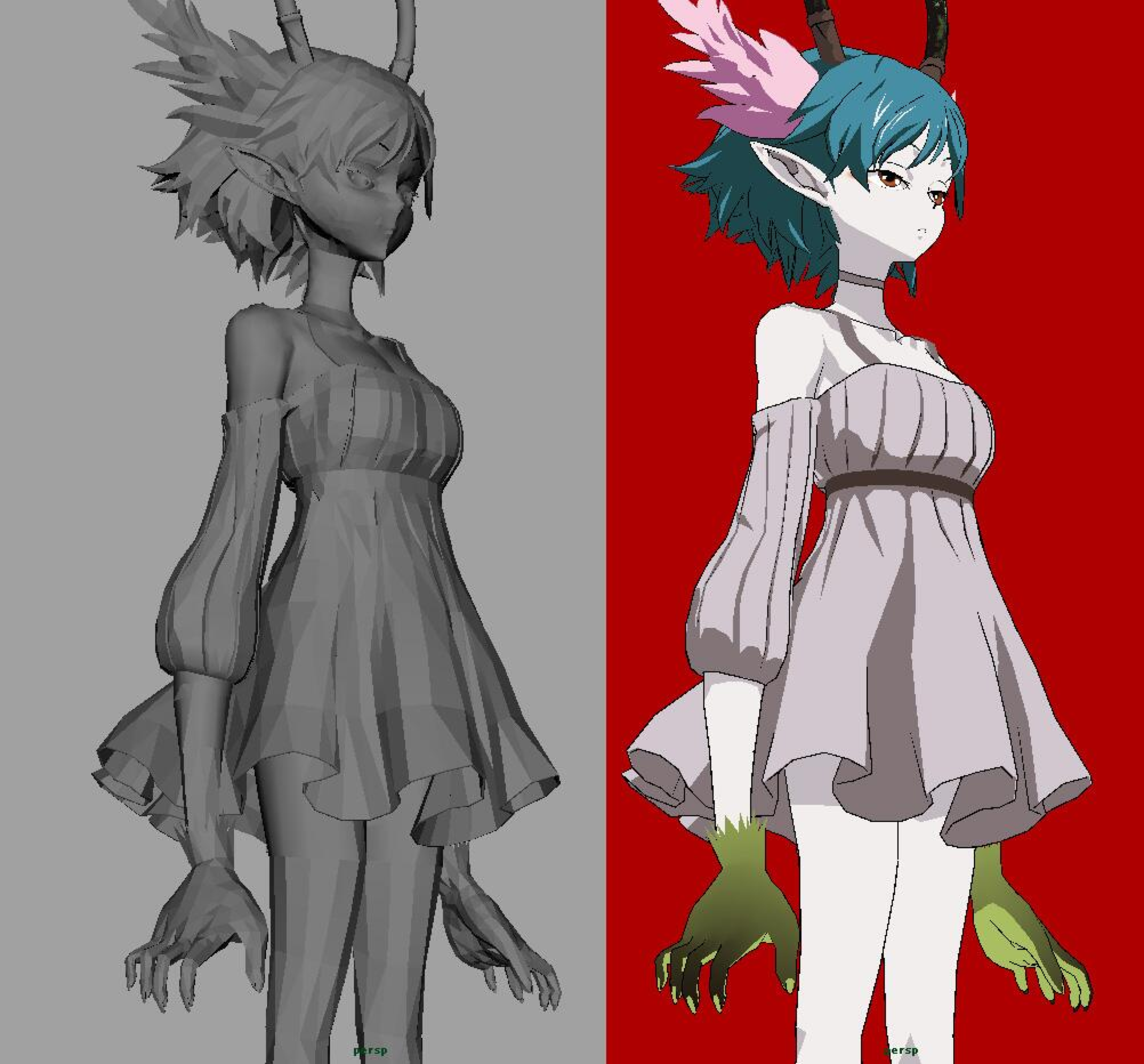 3d에 있는 kao님의 핀 3d 캐릭터 3d 모델링 그림