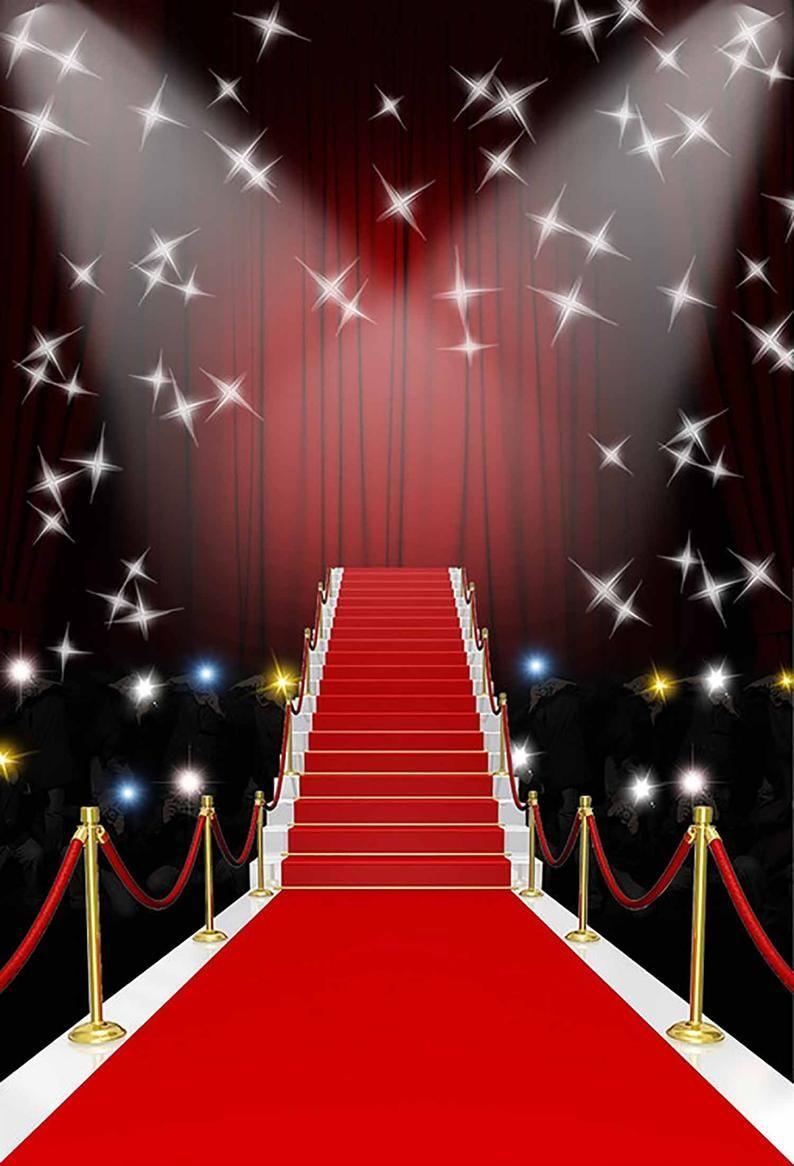 Red Carpet Photography Backdrop Events Birthday Light Shiny Stars Red Stage Photo Indoor Stairs Studio Fabric Backdropbackdrop