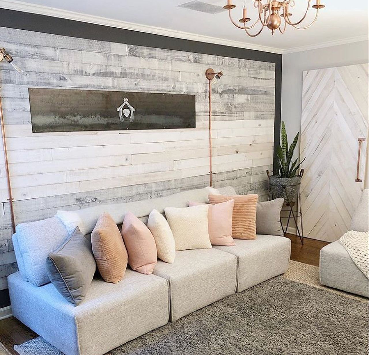 Nantucket Gray And White Washed Wall Boards Accent Wall By Yvonne Reclaimedkarma White Washed Wood Paneling Wall Board Accent Walls In Living Room