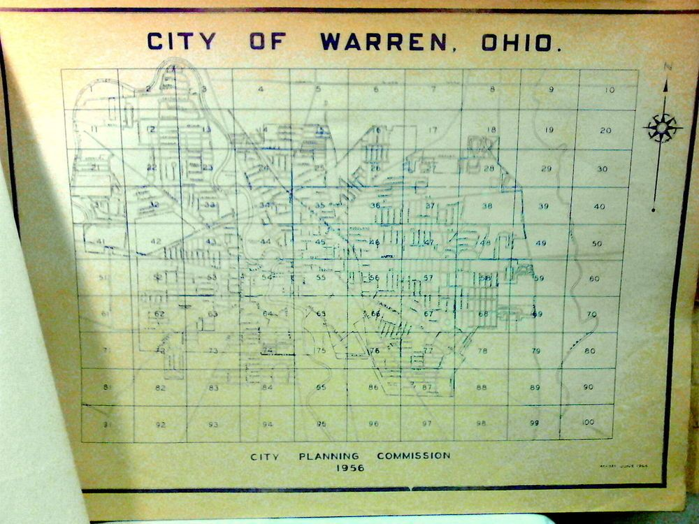 Vintage Blue Print Zoning Map Of The City Of Warren Ohio Book 1959