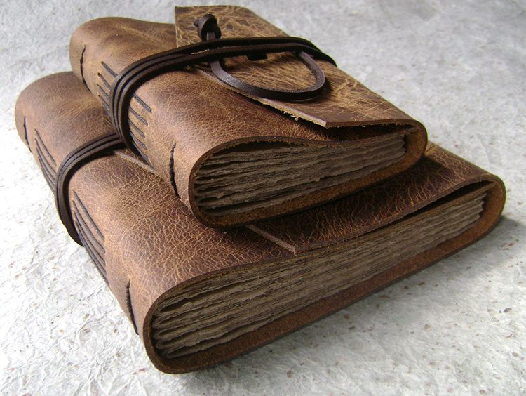 leather journals set of 2 distressed brown handmade rustic