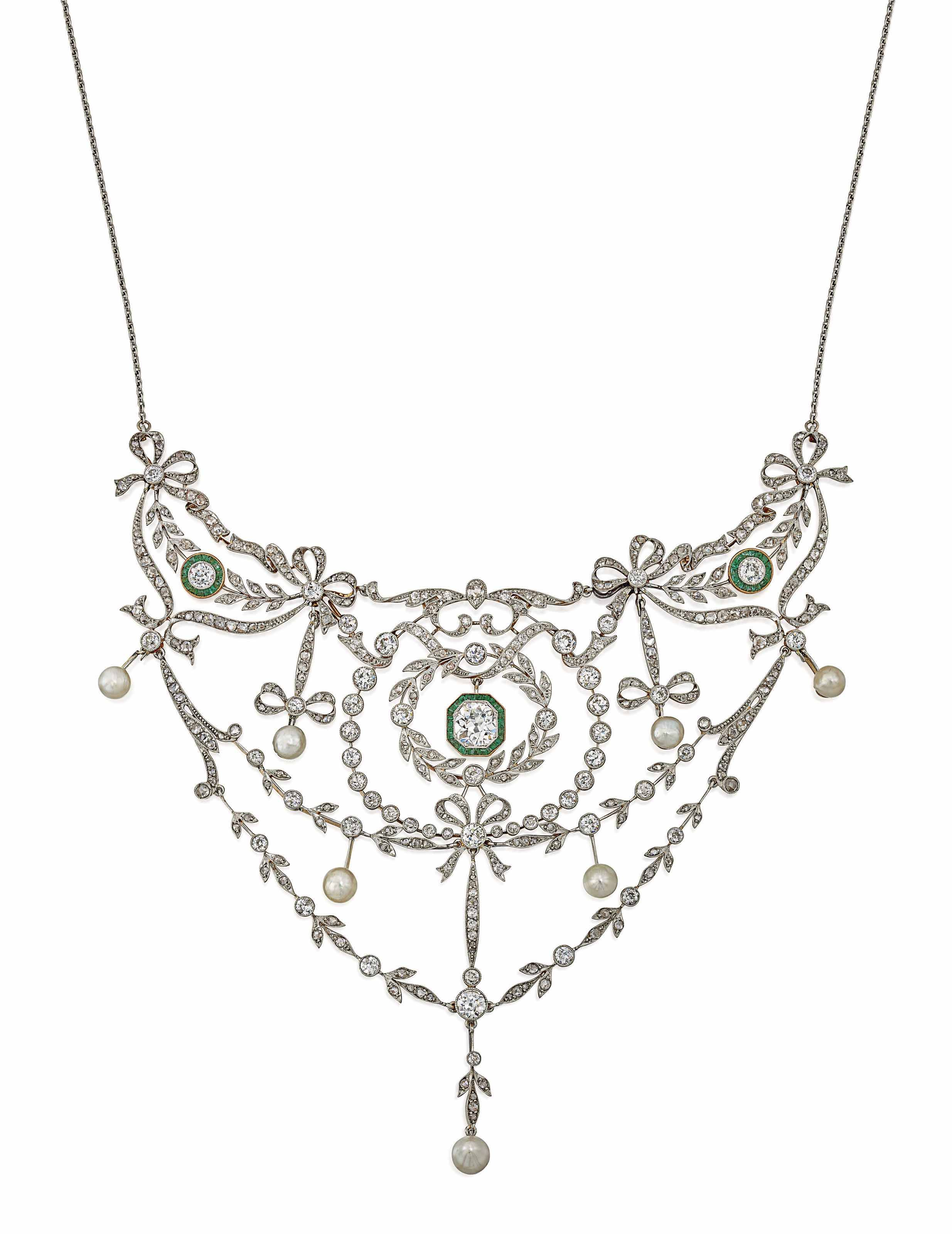 Belle Epoque Emerald Pearl And Diamond Necklaceold Pear