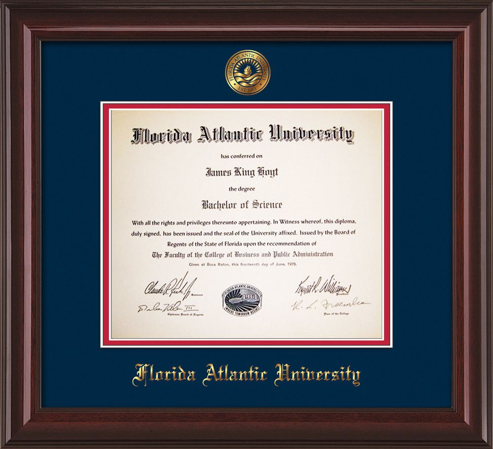 Florida Atlantic U Diploma Frame-Mah Lacquer-w/FAUSeal-Navy on Red ...