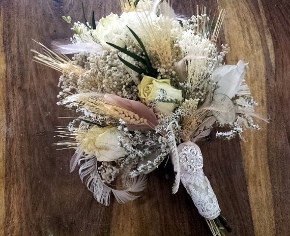 Natural Wedding Bouquet Romantic Vintage Wheat Dried Rose