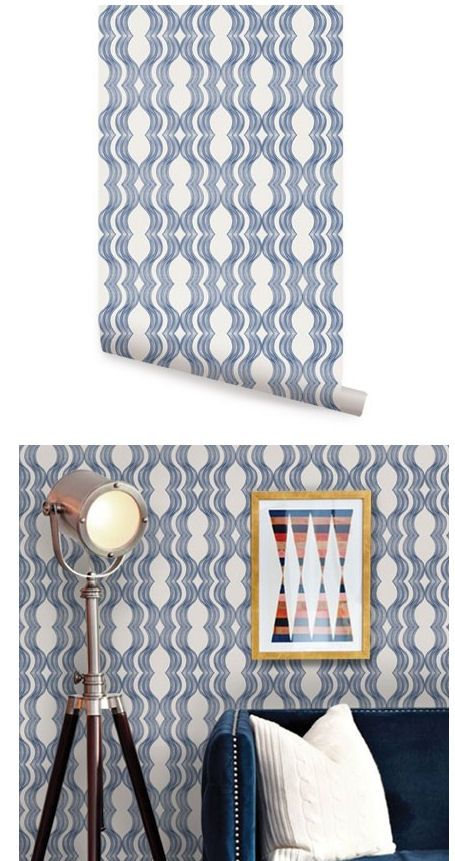 Wave Blue Peel And Stick Wallpaper Dining Room Wallpaper Peel And Stick Wallpaper Home Decor