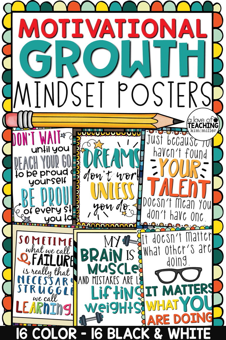 Motivational Quotes Growth Mindset Posters For The Classroom Inspire And Motivate While Growth Mindset Posters Classroom Motivational Posters Growth Mindset