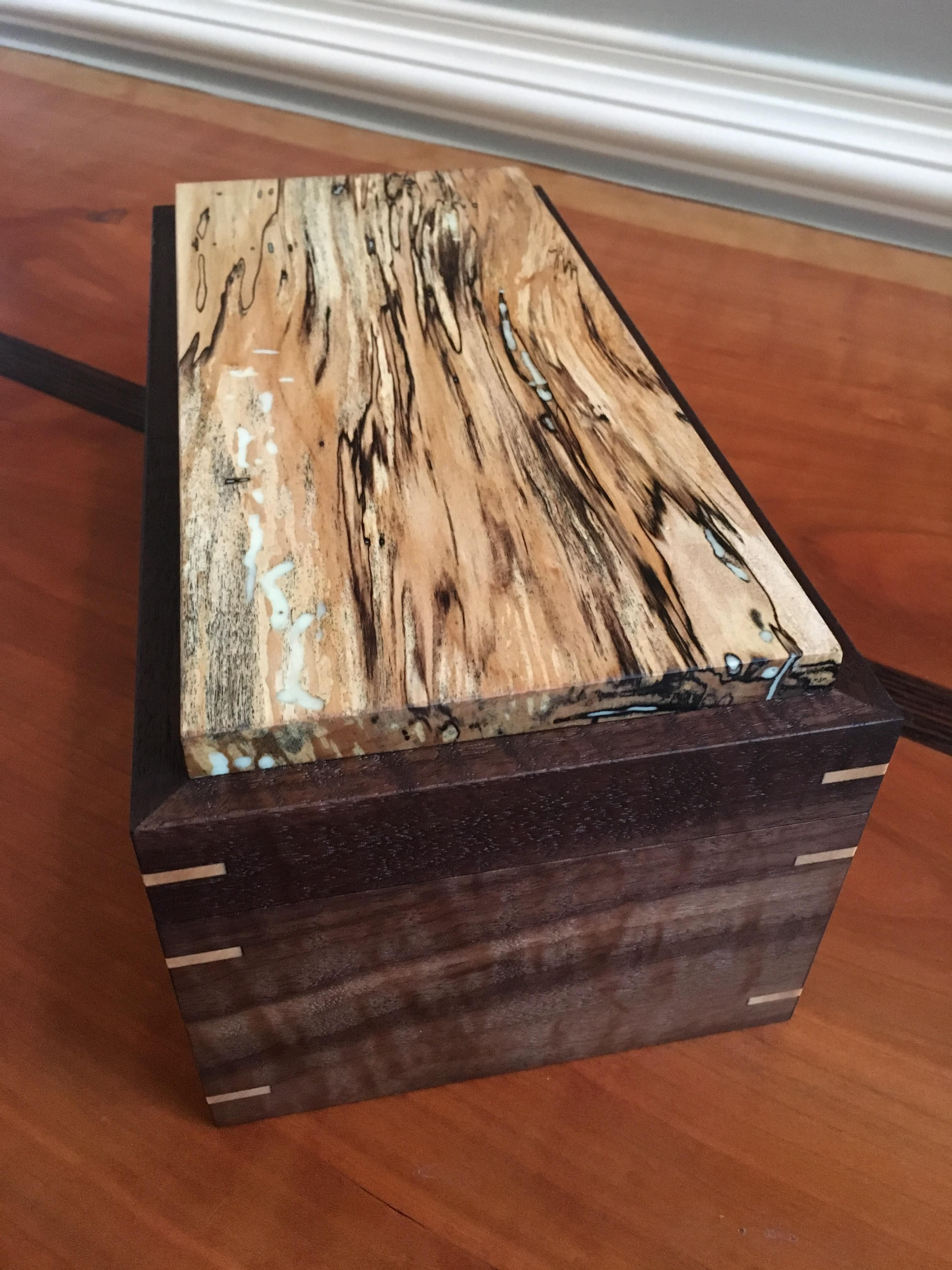 I Filled The Wormholes In My Spalted Maple With Glow In The Dark Epoxy Https Ift Tt 2duu17b Wooden Box Designs Wood Box Design Wooden Box Diy