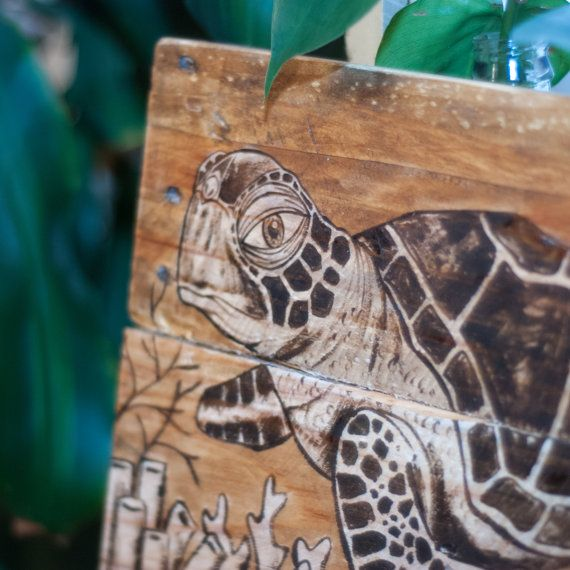 Sea turtle art Sea turtle decor Rustic beach by SimplyPallets