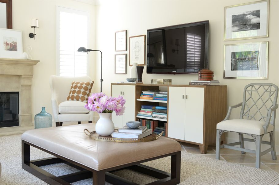 Love The Decorating Details Frames Around Tv Accent Chair Beside Console Floor Lamp By Chair Living Room Makeover Living Room Decor Apartment Living