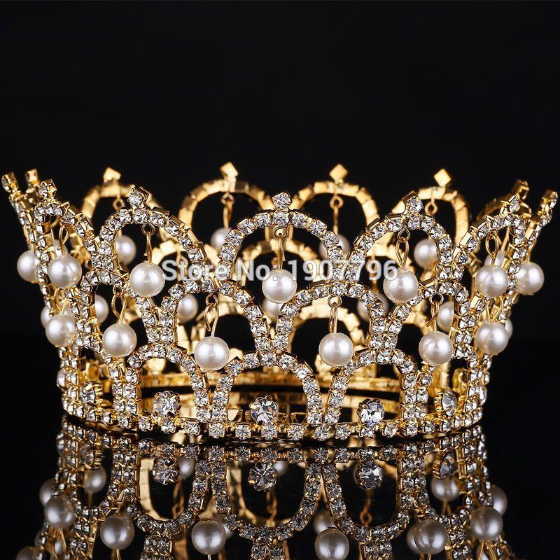 Big European Royal Crown Gold Or Silver Rhinestone Ruby Tiara Super Large  Queen Crown Wedding hair Accessories(China (Mainland)) 5b59c1f04e5d