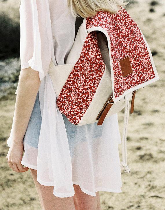 Gänseblümchen rot drucken-Rucksack, rot Gänseblümchen, Canvas und Leder-Rucksack, Rucksack Damen