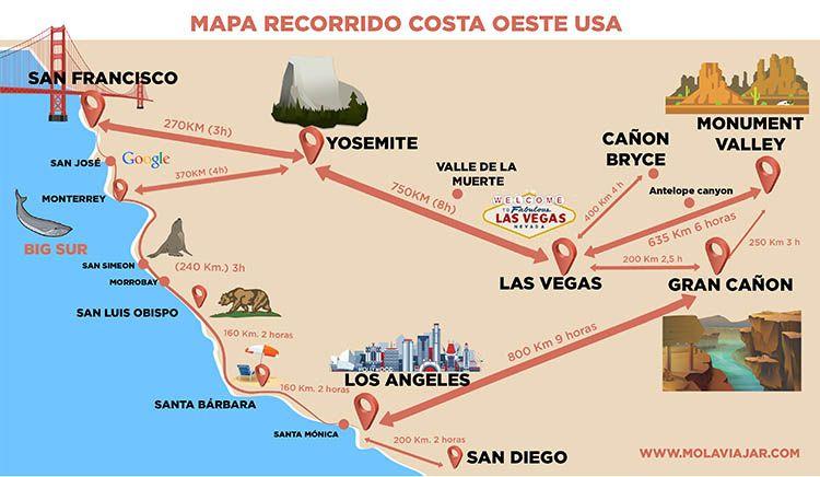 Mapa Eeuu Costa Oeste.Mapa Costa Oeste Usa En 2019 Costa Oeste Viajes Por