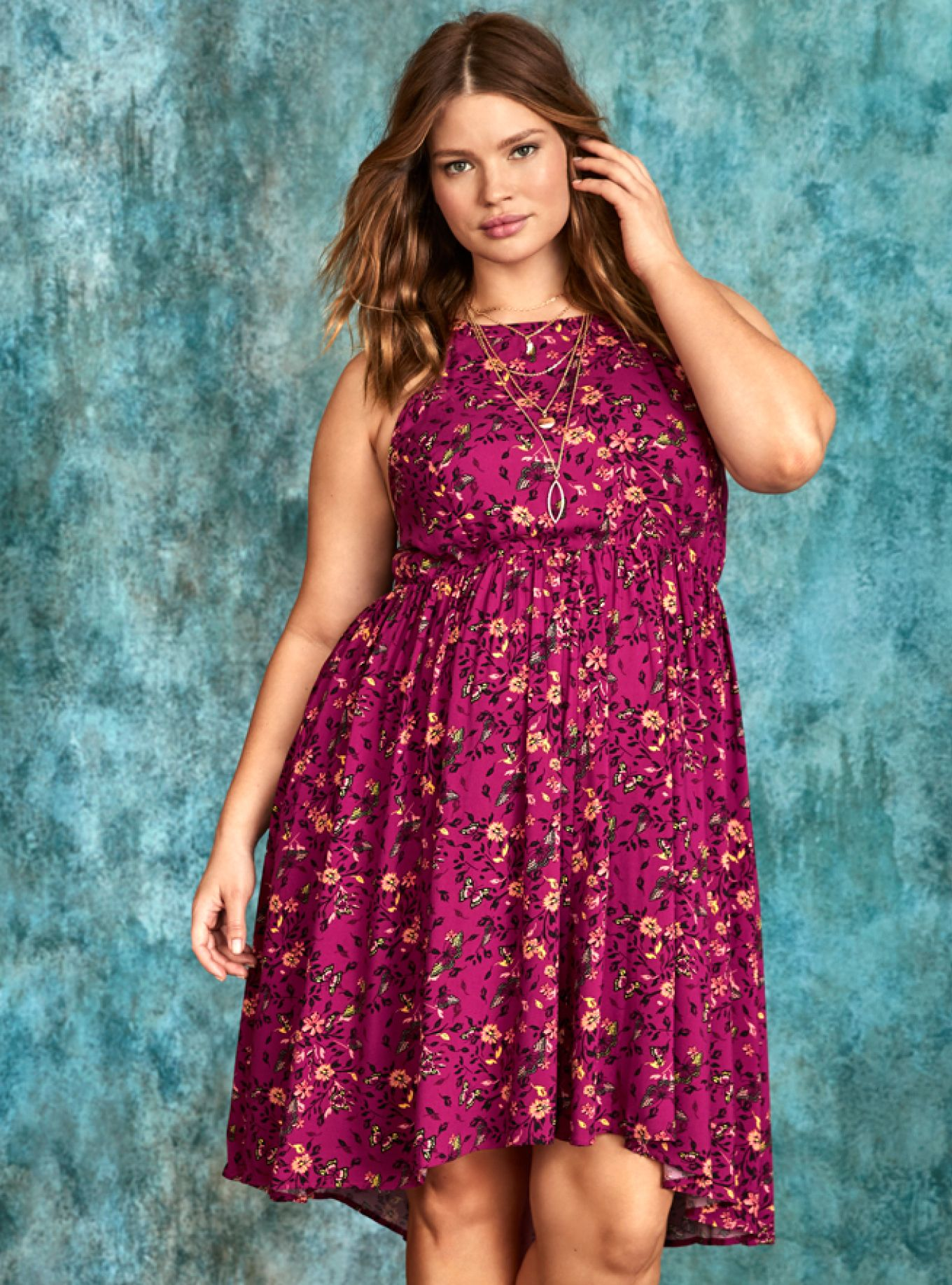 788ffa9684b5c The berry red challis on this dress literally takes flight with a flowy  feel and a hi-lo hem that lends air supply to your strut.