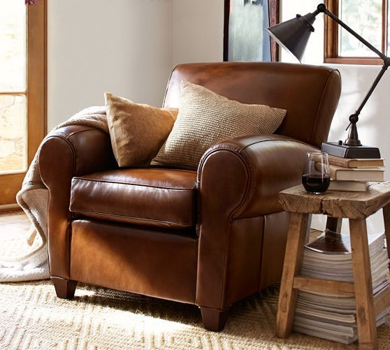 manhattan leather club chair pottery barn furniture pinterest
