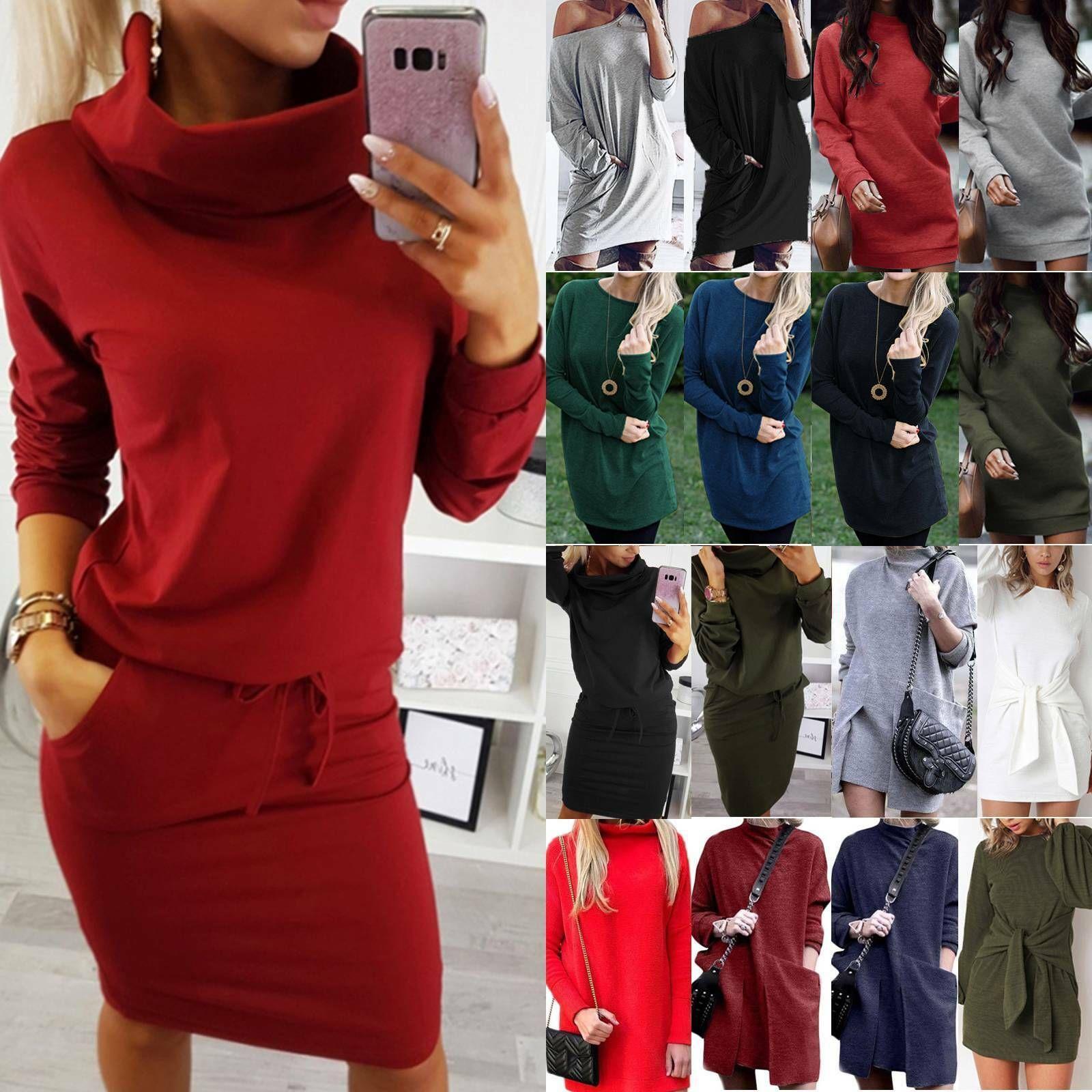 Damen Pulloverkleid Pullikleid Minikleid Sweatshirt Jumper Kleid