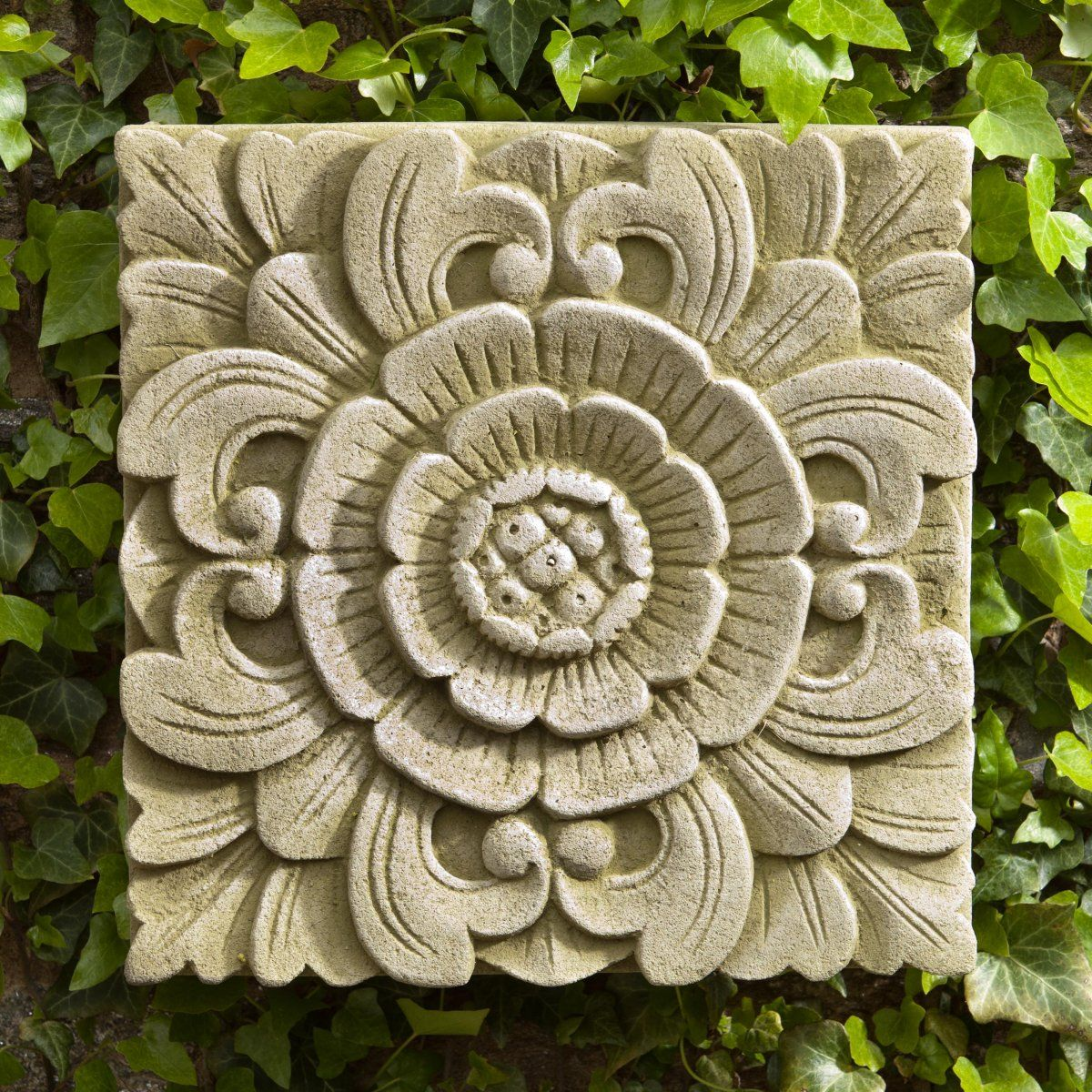 Outdoor Wall Plaques Campania International Square Eden Cast Stone Outdoor Wall Art