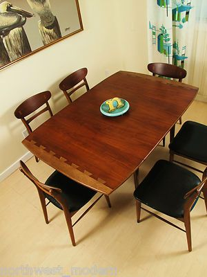 Danish Modern Mid Century Dining Table Lane Dovetail Drop Leaf Andre Bus |  Used Mid