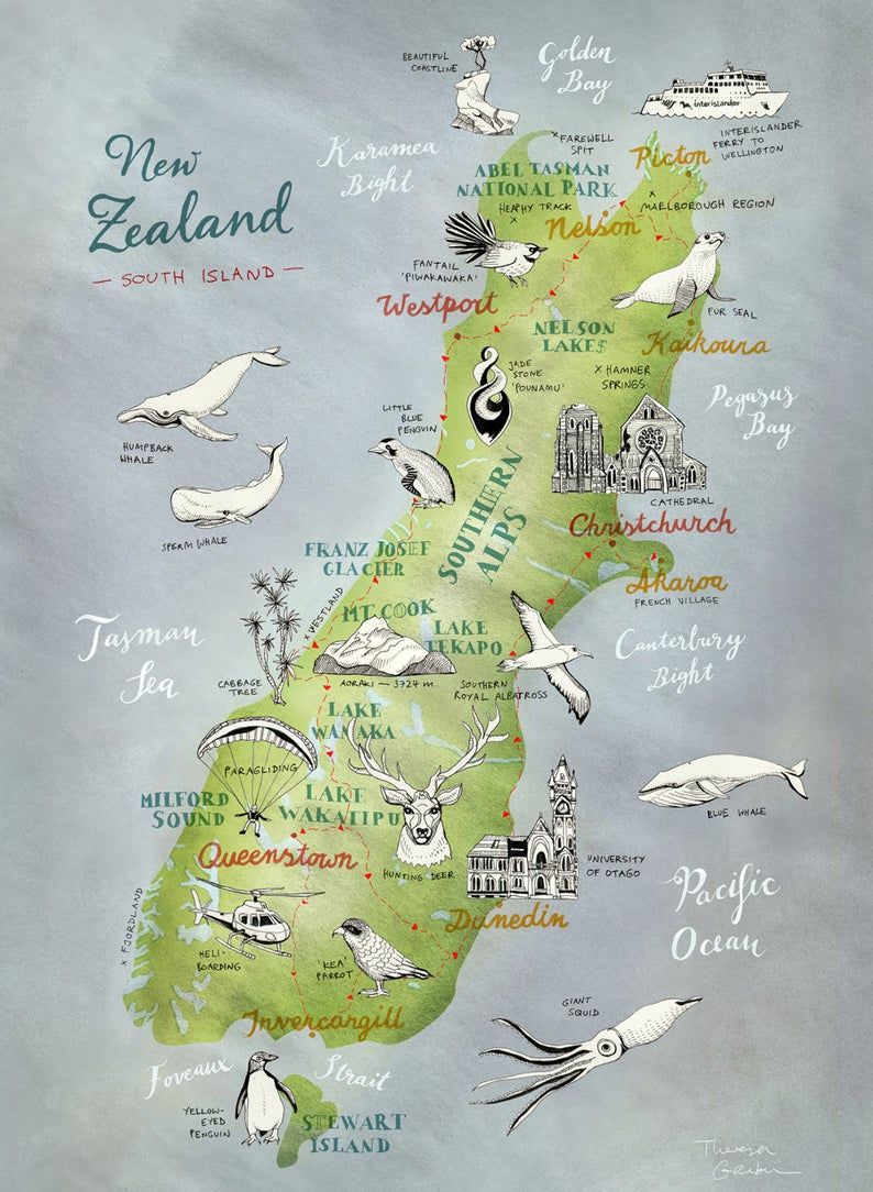 New Zealand Map of South Island, Giclee Print, New Zealand poster, NZ art, Kiwiana, lovely travel illustration, farewell gift, German Shop