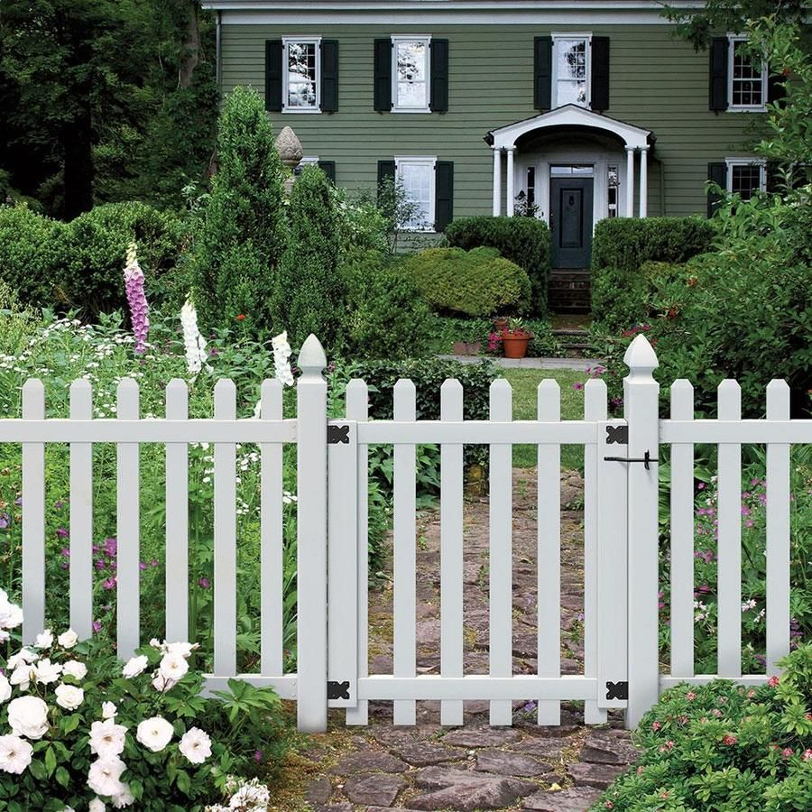 Outdoor Essentials Common 4 Ft X 3 5 Ft Actual 3 83 Ft X 3 46 Ft Picketlock White Vinyl Spaced Picket Stoc In 2020 Picket Fence Gate Fence Gate Vinyl Picket Fence