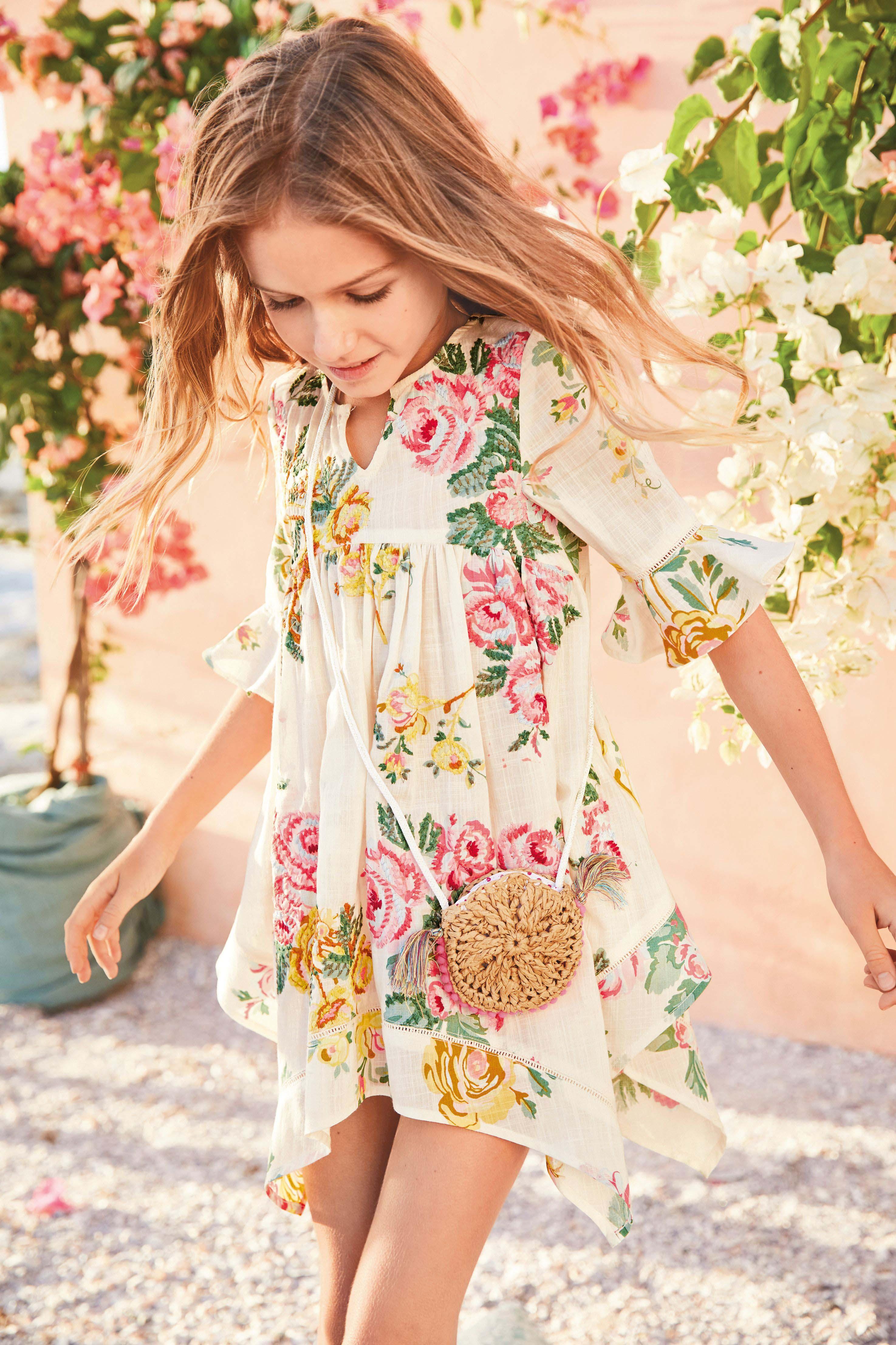 3b987cc28067 Girls Next Floral Embrodiered Kaftan (3-16yrs) - White