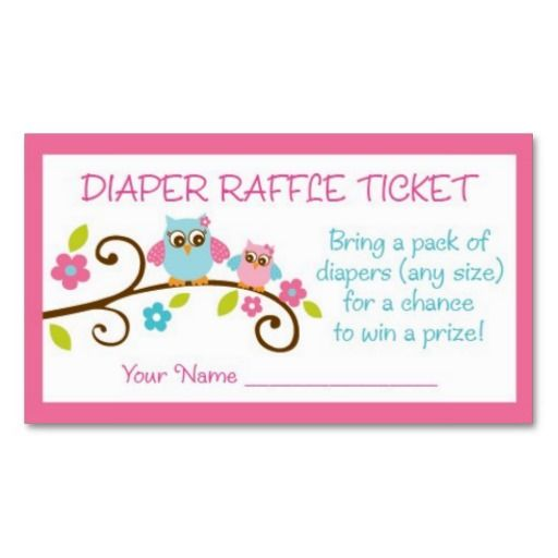 Owl Diaper Raffle Ticket Instant Download Owl Baby Shower Game