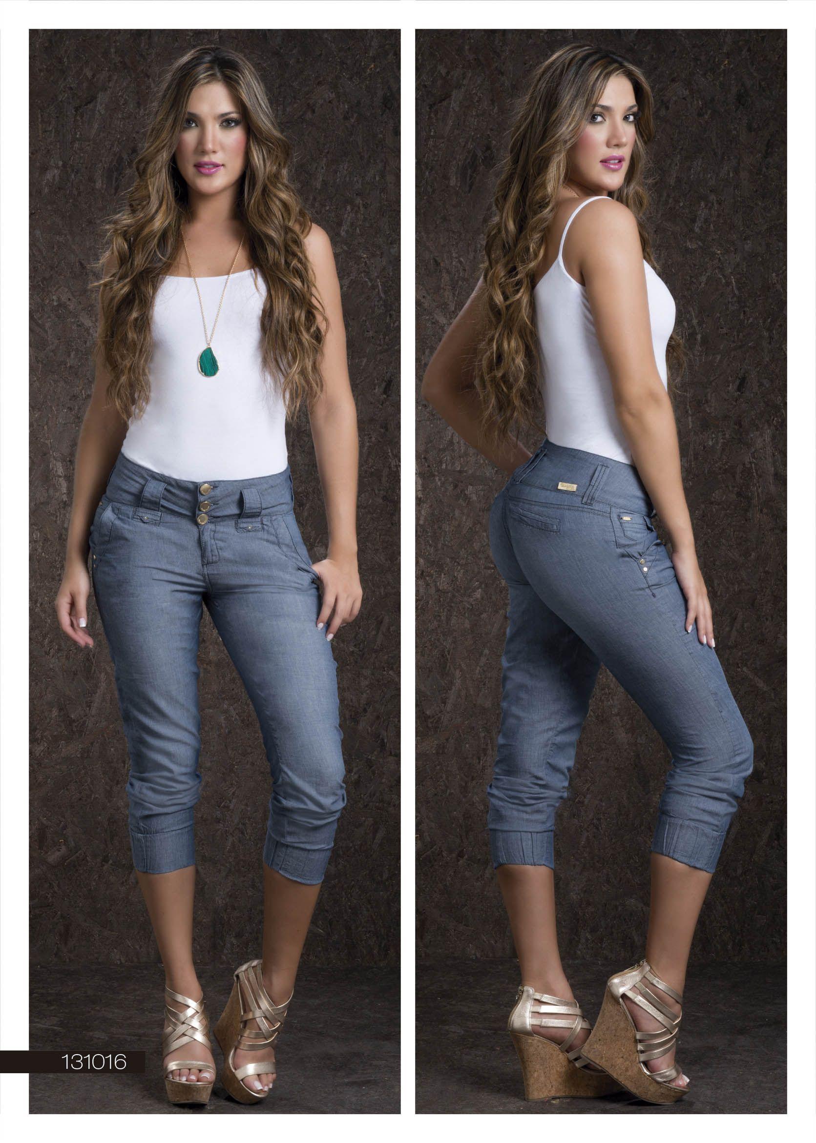 Compra pantalones capri de mezclilla online al por mayor