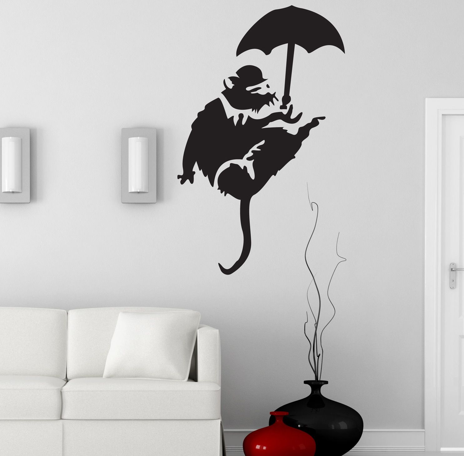 New. Banksy Cow Parachute Many colours Funny Wall Decors Wall Stickers